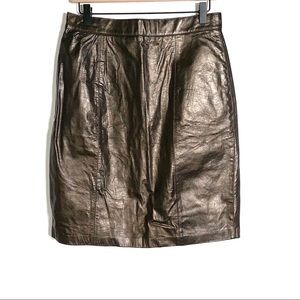 Express 100% leather bronze colored pencil skirt